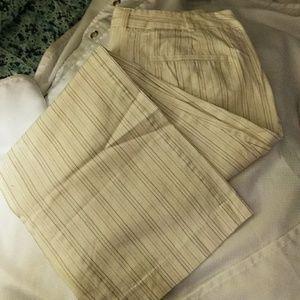 Cream striped pants size 12
